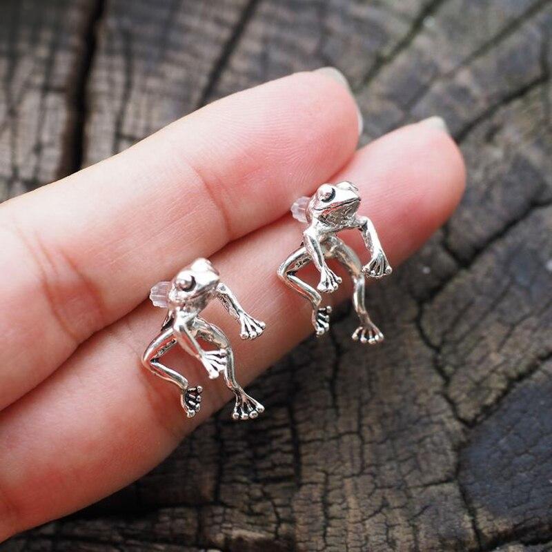 Cute Frog Earrings for Women Girls Animal Gothic Ear Stud Earrings Piercing Female Korean Jewelry Br