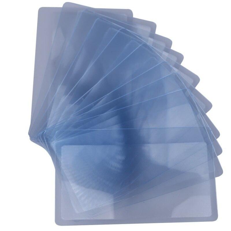 Lupa de bolsillo de 10x, mapa de lupa, lupa, asistencia de lectura, formato de tarjeta de crédito con 3 zoom transparente