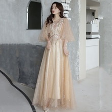 New O-Neck Ruffles Half Sleeve Evening Dress Flowers Embroidery A-Line Floor-Length Elegant Sequins