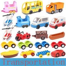 Grande taille bricolage blocs de construction voiture avion paddle Figure accessoires de transport marque duploely brique jouets pour enfants cadeau