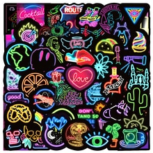10/30/50pcs/pack Fashion Neon Lights Grafftit Stickers For Motorcycle Notebook Computer Car Children's Toys Decal Refrigerator