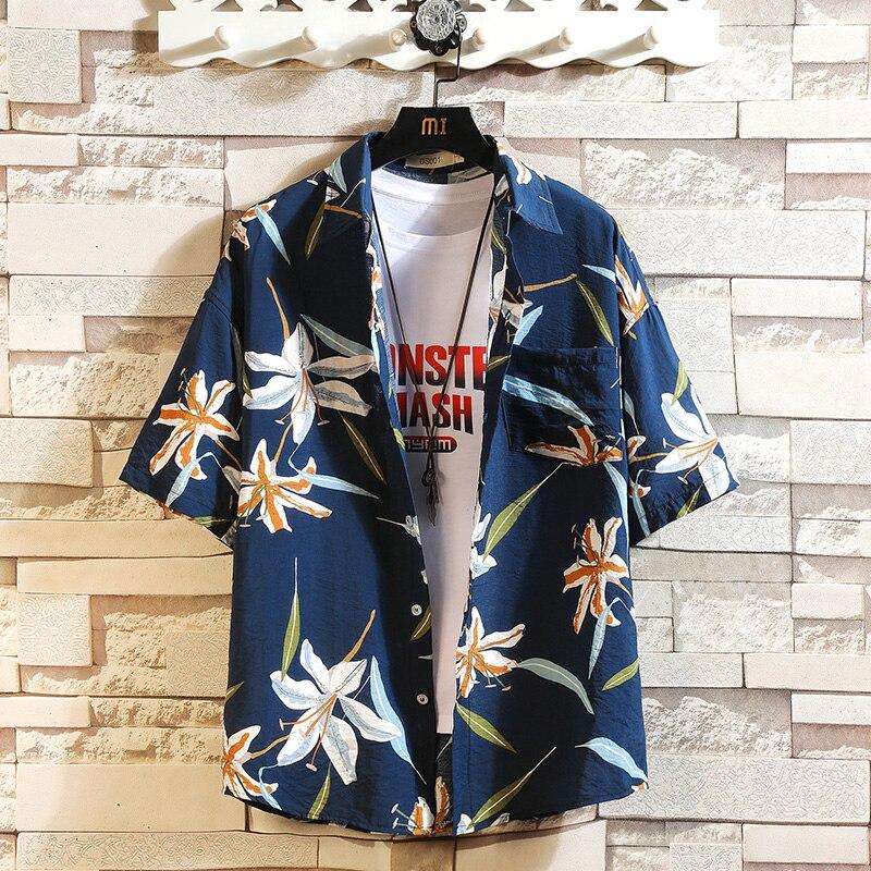 Verano Venta caliente camisa de playa de los hombres de moda de manga corta Floral suelto Casual camisas de talla grande M-4XL 5XL Hawaiano