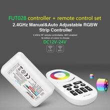 FUT028 2.4GHz manuel et automatique réglable RGBW contrôleur de bande et tactile DC12-24V à distance led gradateur ensemble à distance pour RGBW LED bande
