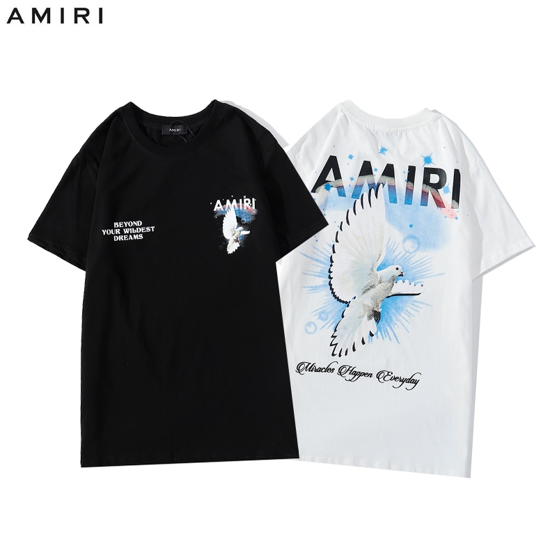 Street fashion Amiri short sleeve T-shirt Amiri peace pigeon casual print beggar short sleeve T-shirt