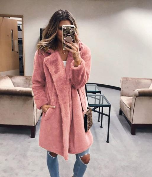 Mulheres outono inverno casacos de pele do falso longo moda quente sólido streetwears feminino casual outwears jaquetas casacos de pele 2019