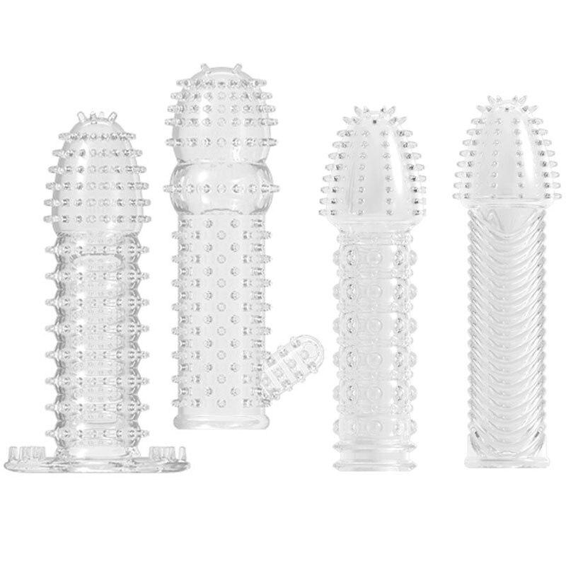 Camisinhas vibratórias reutilizáveis, preservativo pontilhado e reutilizável, capa para ereção peniana, brinquedo sexual masculino
