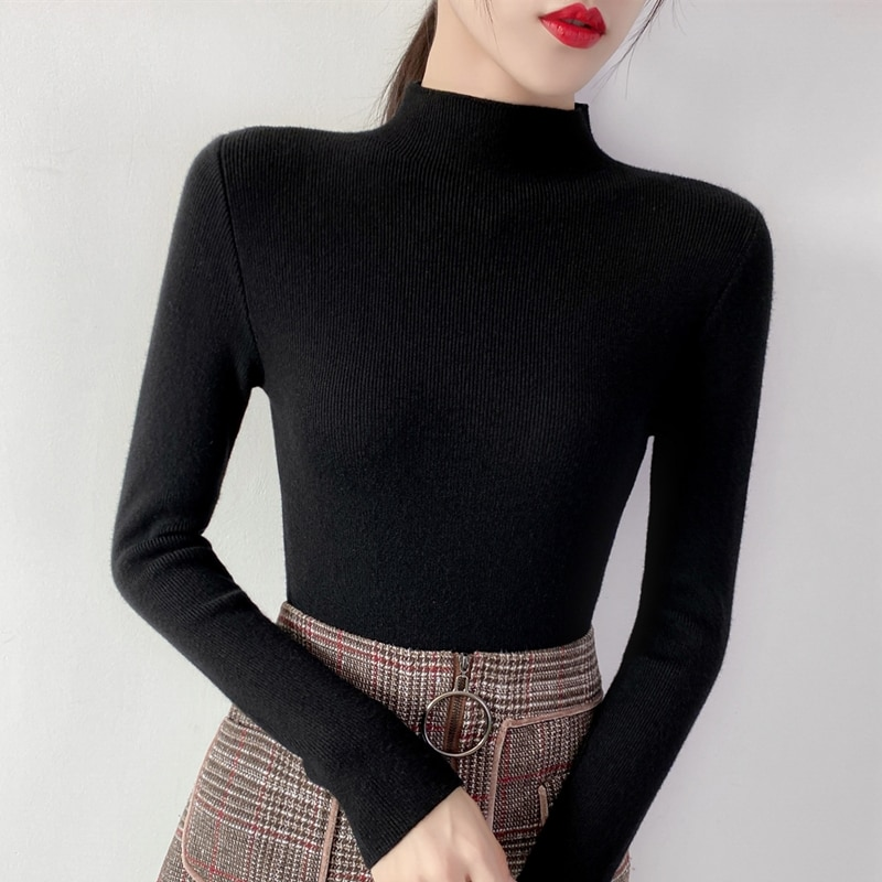 New autumn and winter 2020 100 turtleneck semi-high collar self-fitting women inside the foreign-style top bottom sweate