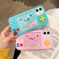 pink 3d cute smiley game machine dynamic liquid quicksand silicone soft cover for iphone 11pro max xs xr 7 8 plus x phone cases
