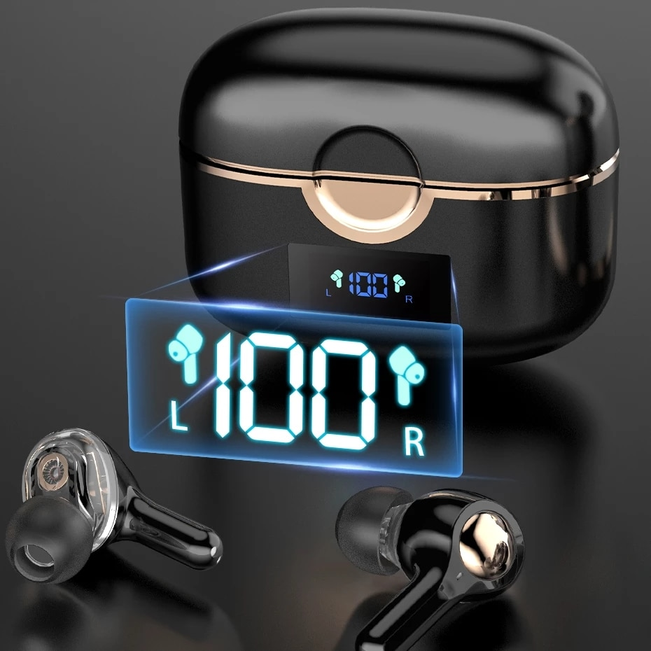 TWS سماعة لاسلكية تعمل بالبلوتوث 5.1 سماعات إلغاء الضوضاء LED عرض سماعة الرياضة سماعات مقاومة للماء سماعات مع 4 ميكروفون