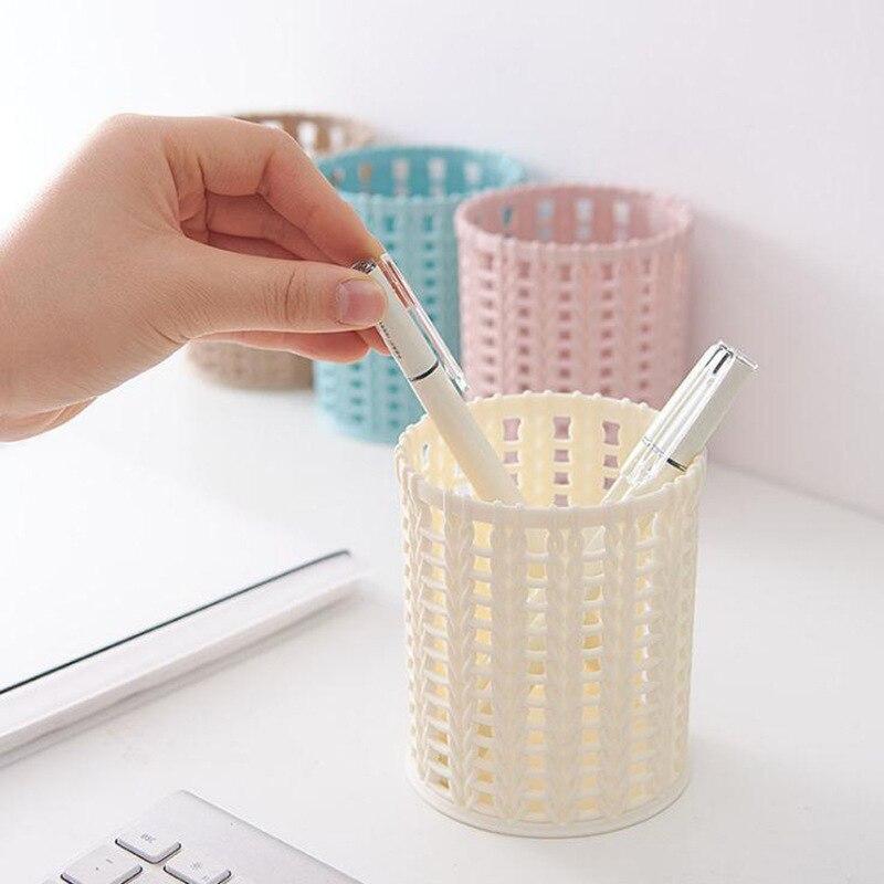 Organizador de oficina en casa contenedor de mimbre de plástico cilindro de escritorio pluma hueca caja de almacenamiento lápiz pincel olla lápiz titular de la pluma cepillo de maquillaje