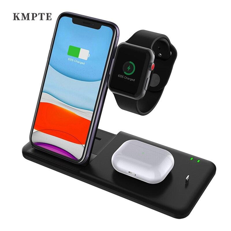 حامل شحن لاسلكي KMPTE 4 في 1 لهاتف iPhone 12 11 XS XR X 8 Apple Watch 6 5 4 3 Airpods Pro 15 واط Qi محطة شحن سريع