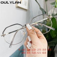 Oulylan fini myopie lunettes femmes hommes métal polygone myopie étudiant-1 -1.5 -2 -2.5 -3 -3.5 -4 -4.5 -5 -6