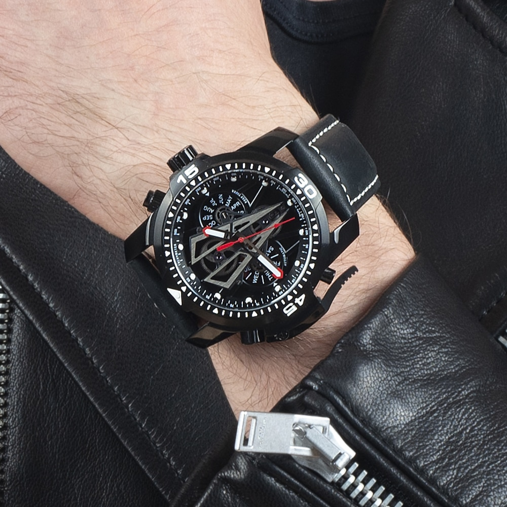 Reef Tiger/RT New Arrival All Black Brand Luxury Waterproof Wrist Watch Stainless Steel Chronograph