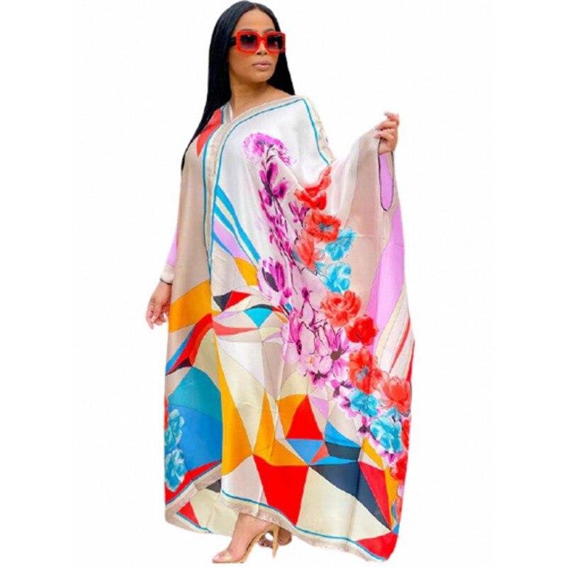 Платье большого размера, африканская одежда с V-образным вырезом и рукавом летучая мышь, свободное платье, новое модное Повседневное платье,...