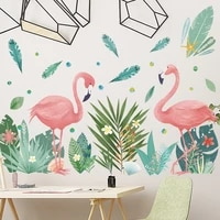 nordic ins style leaf flamingo diy vinyl wall stickers for living room girl bedroom mural art wallpaper home decoration