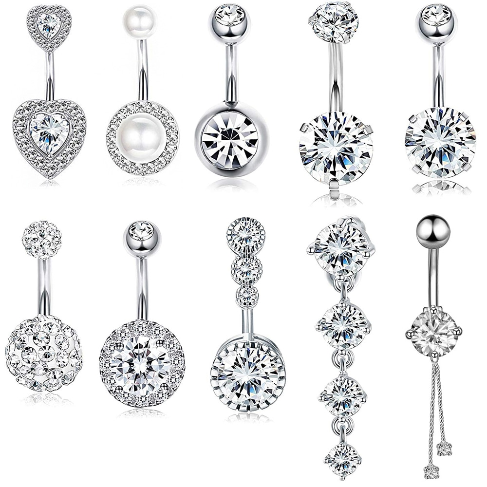 10 Styles Sexy Dangling Navel Belly Button Ring Oreja 14G Double Round Cubic Zirconia 316L Surgical