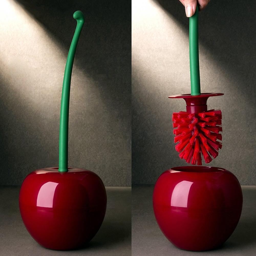 Hot Sale Creative Lovely Cherry Shape Lavatory Brush Toilet Brush & Holder Set,Convenient Toilet WC Bathroom Accessories Set