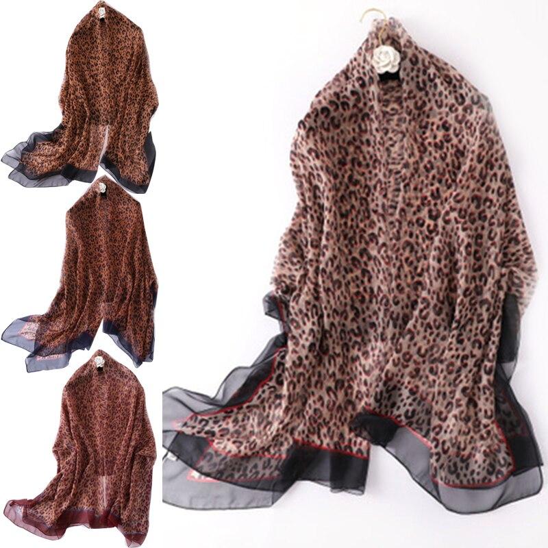 Newest Women Leopard Print Silky Scarf Shawls Sun Protection Female Gauze Long Beach Wraps