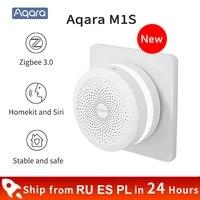Aqara     Hub intelligent M1S Gateway sans fil  wi-fi  Zigbee 3 0  LED RGB  veilleuse  haut-parleur  telecommande  application Mi home Homekit