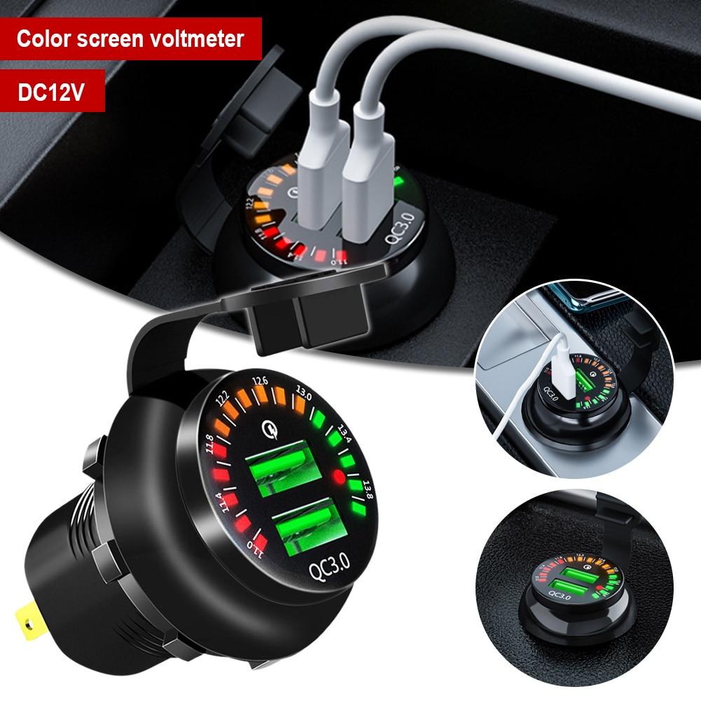 Автомобильное зарядное устройство с двумя USB-портами, быстрое зарядное устройство 3,0, автомобильное зарядное устройство с двумя портами, со...