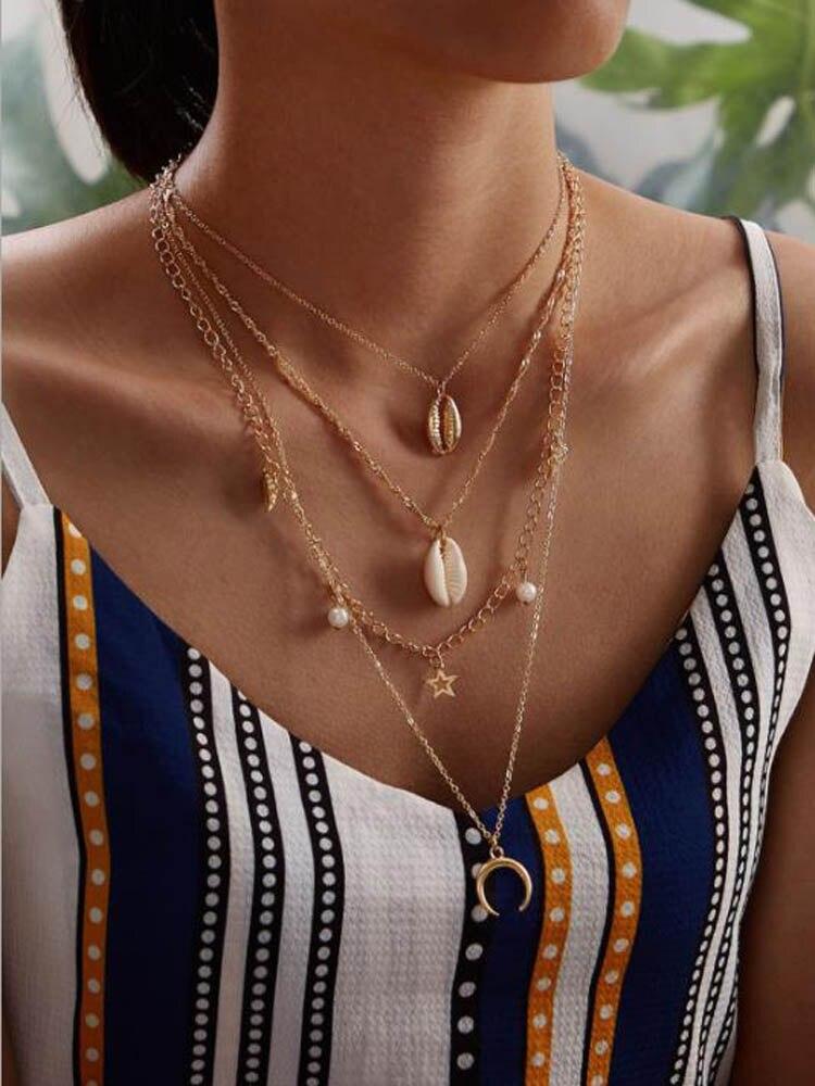 Бохо жемчужное ожерелье золотого цвета ожерелье с Луной и звездой egirl женский подарок igirl Многослойные подвески ожерелья ювелирные изделия