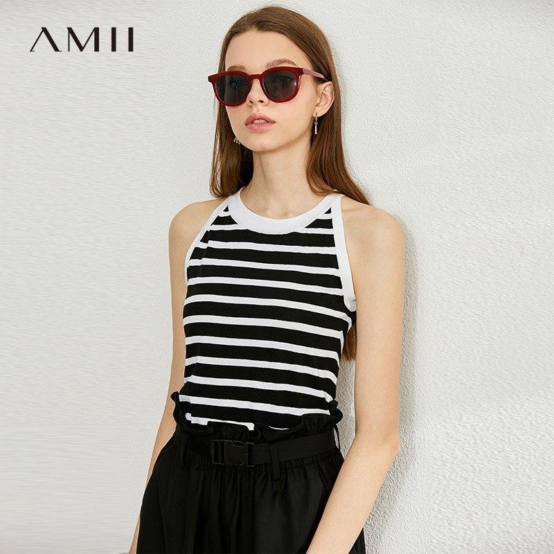 Amii minimalismo primavera verão stripe malha colete topos feminino sexy vneck sem mangas camisola feminina 12040182