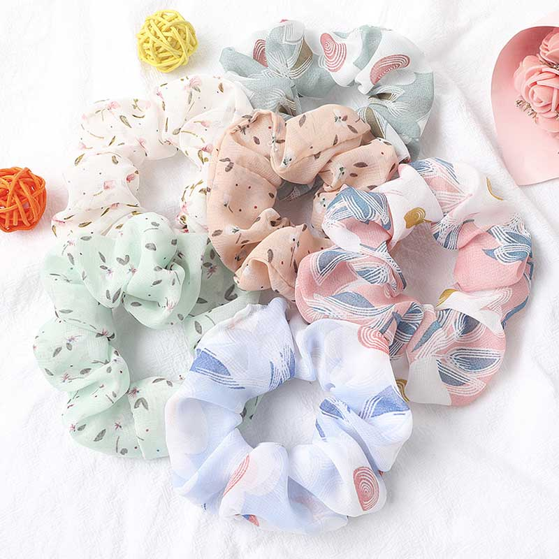 Sweet Chiffon Floral Leopard Print Scrunchies Hair Ties For Girls Hair Accessories Vintage Flower Rubber Band Hair Rope Headwear