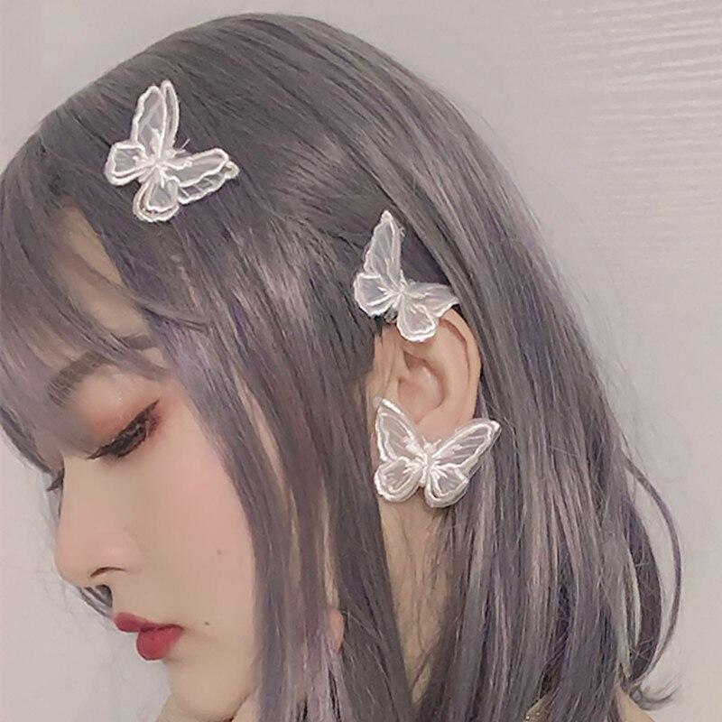 Horquilla de hada con mariposa de encaje blanco y negro bonito, accesorios para el cabello bordados a mano para mujeres, joyería Bohemia, pinza para el pelo para niñas
