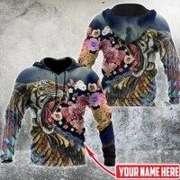 3d hoodie for men customize name floral tiger harajuku fashion sport hooded springautumn sweatshirt casual jacket diy pullover