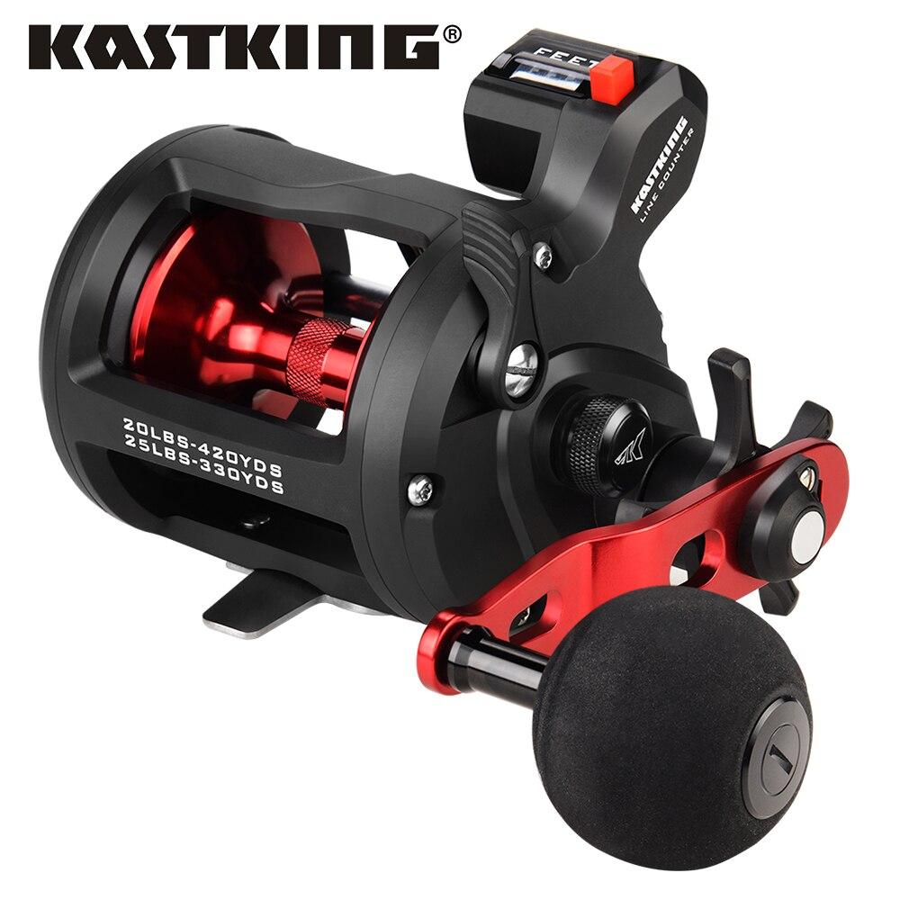 KastKing ReKon, limpiador de arrastre de fibra de carbono cuentametros, carrete de pesca de arrastre, carrete redondo de fundición de cebo, carrete de pesca de tambor 3 + 1 BBS