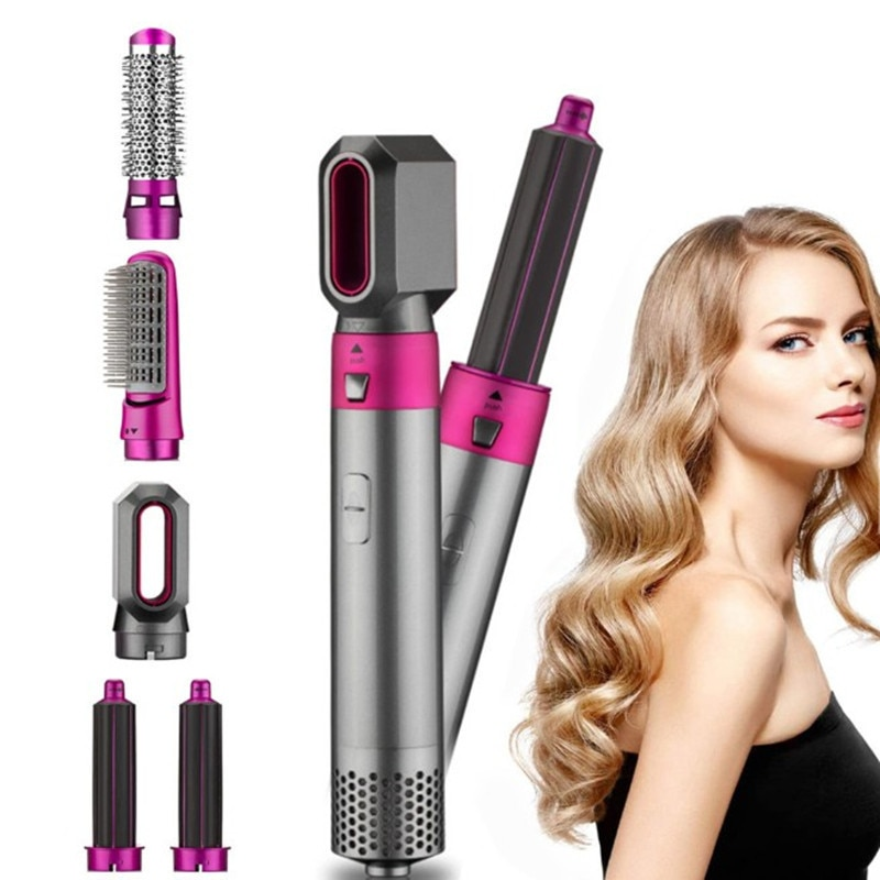 Hair Dryer Brush 5 In 1 Electric Blow Dryer Air Hair Comb Wrap Curling Wand Detachable Brush Kit Negative Ion Straightener Brush