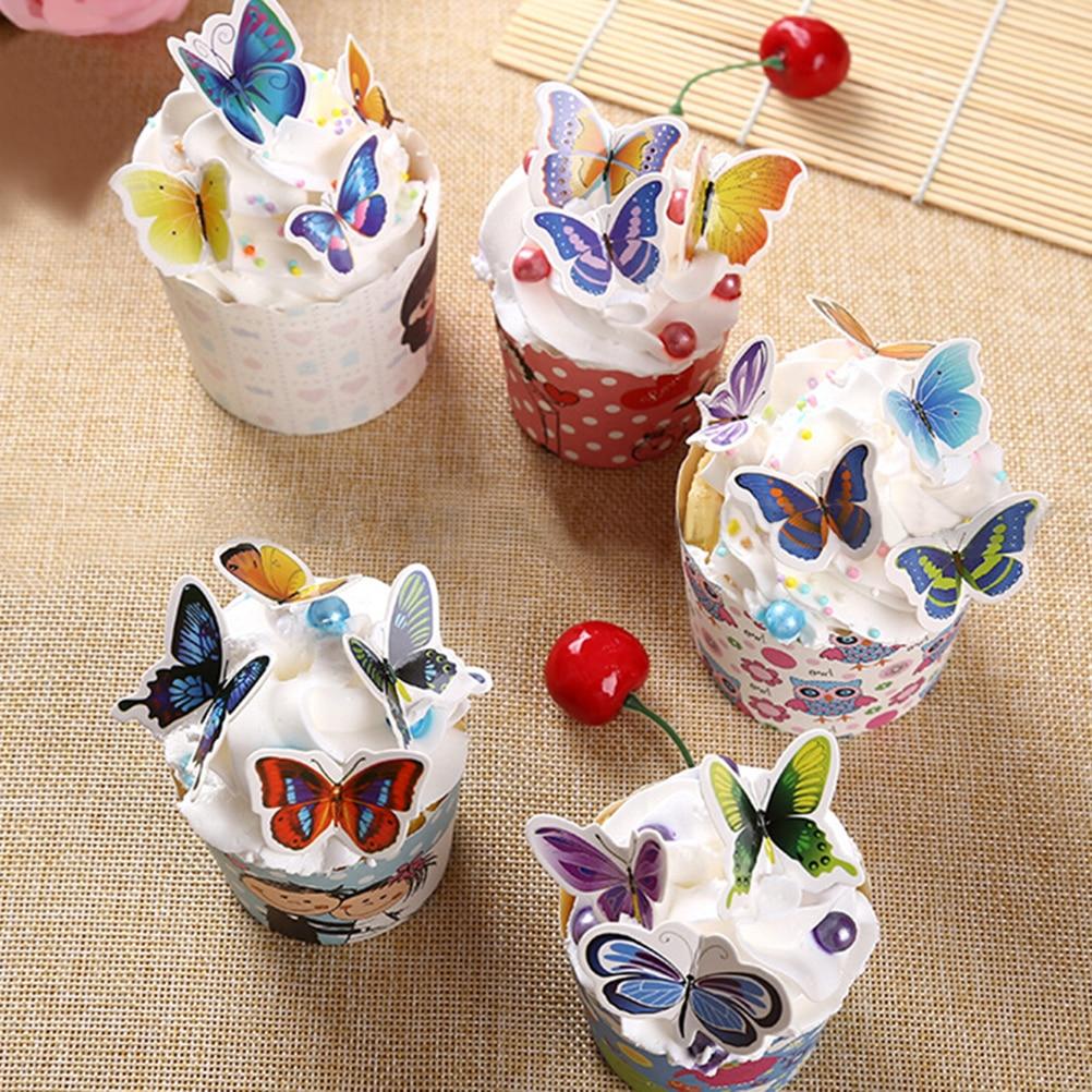 50 unids/bolsa hermosa mariposa Decoración de Pastel tarjeta occidental postre Mousse Copa insertar horneado pastel de cumpleaños