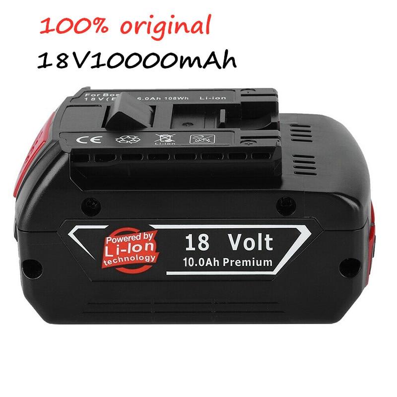 100%Original 18V 10.0Ah Rechargeable Li-ion Battery Portable Replacement Battery Indicator light For Bosch BAT609 6.0Ah /8.0Ah