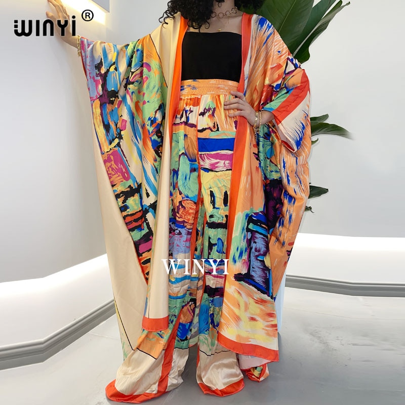 WINYI قطعتين دعوى بوهو مطبوعة أكثر من حجم كيمونو Batwing كم sukienka المرأة مطاطا الحرير طول الأرض موضة جديدة المد