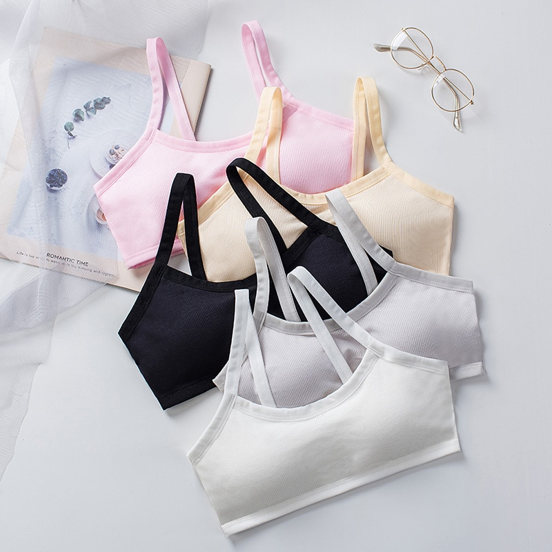 Young Girls Cotton Bras Jump Up Running Sports Bra Tops Full Cup Seamless Training Puberty Yoga Bras