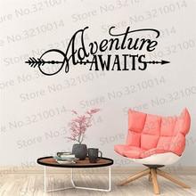 Adventure Vinyl Lettering with Arrow BATTOO Adventure Awaits Wall  Vinyl Decor Living Room Wallpaper PW489