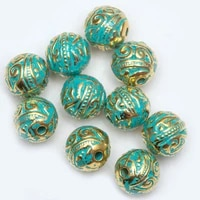 8mm 20 pcslot vintage green and gold tube bead tibetan silver spacer beads for bracelet jewelry making