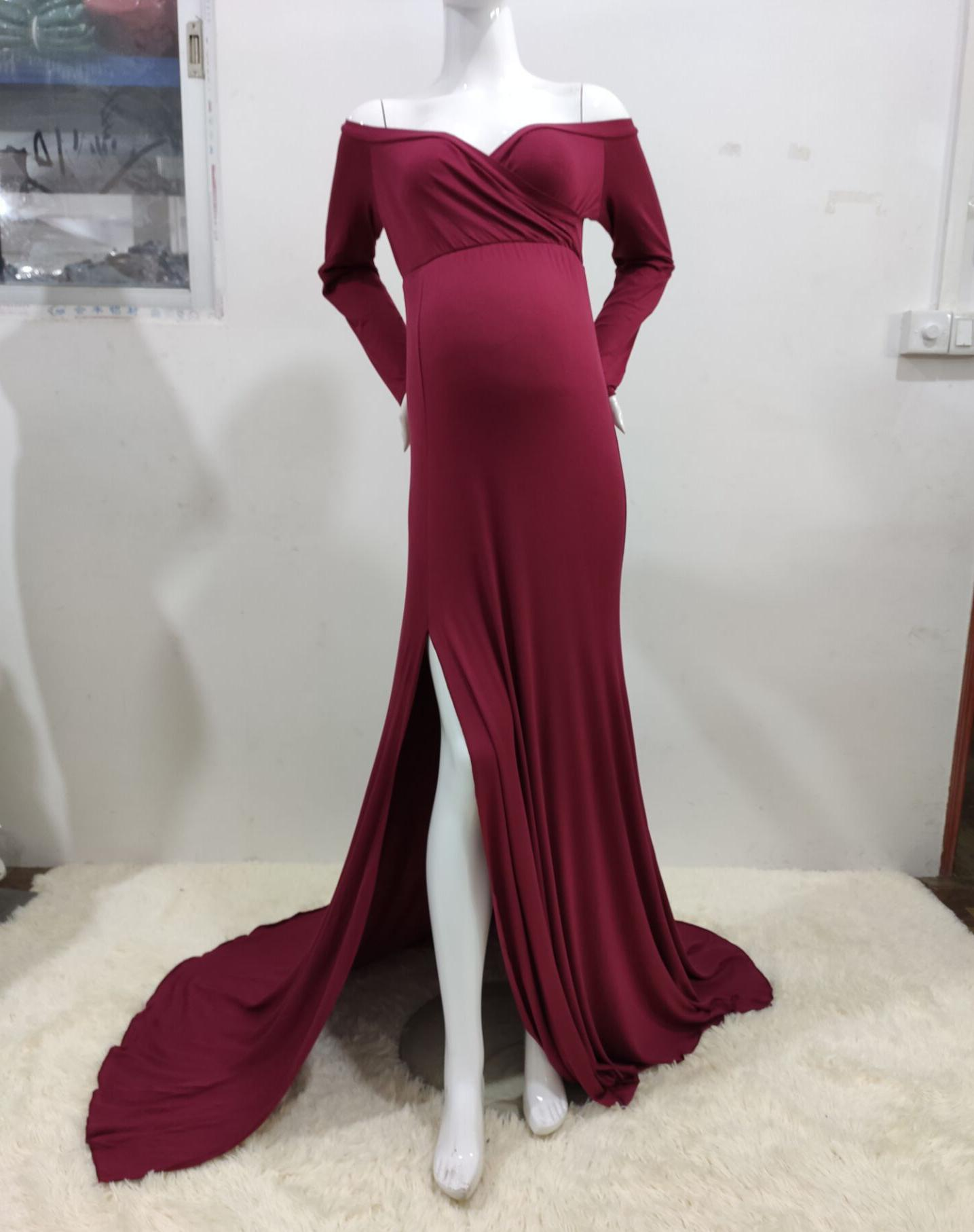 Pregnant Dress New Maternity Photography Props For Shooting Photo Pregnancy Clothes Cotton+Chiffon Off Shoulder Half 1709653 enlarge