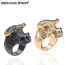 Nuevo Anillo de cabeza de toro Punk Animal Color negro dorado Micro pavé diamantes de imitación anillos de Hip Hop para hombres joyería regalos para rapero