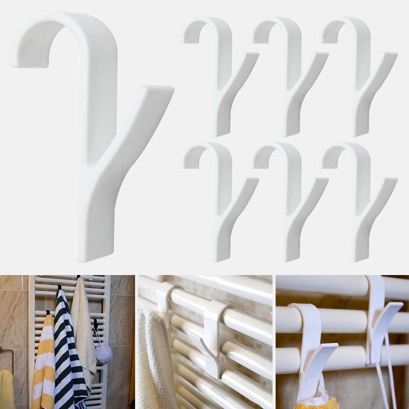 6pcs weißer hochwertiger Kleiderbügel für beheiztes Handtuch Heizkörperhalter Badhakenhalter Kleiderbügel plegable Schal Kleiderbügel