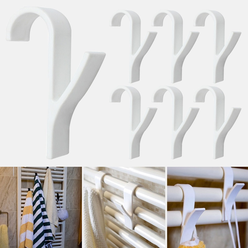 6ком бела бела висококвалитетна вешалица за грејач за пешкире држач куке за купатило држач за одећу вешалица за шал