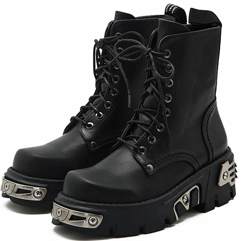 حذاء بانك نسائي بنعل سميك بطول 6 سنتيمتر ، حذاء نسائي سميك للدراجات النارية ، حذاء أسود مزخرف بالمعدن ، 34-40