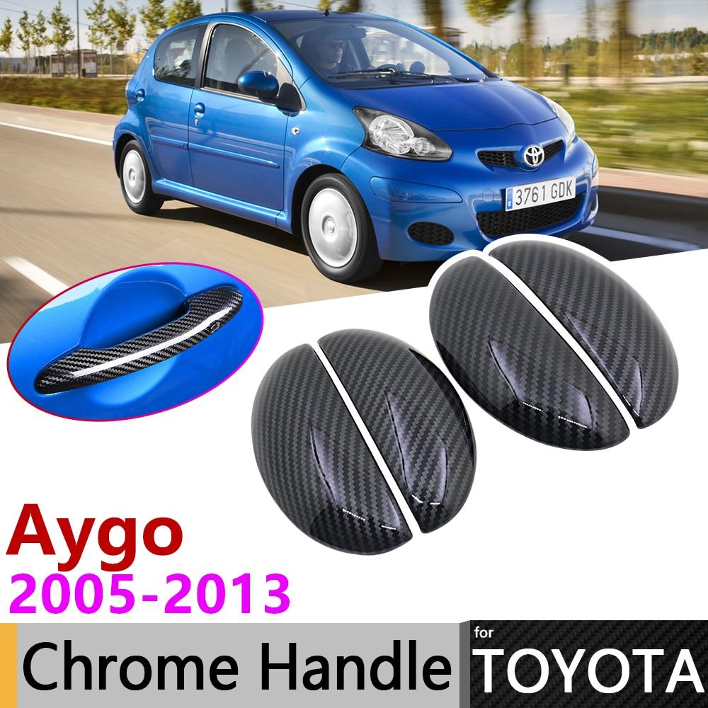 Black Carbon Fiber Door Handle Cover for Toyota Aygo MK1 2005~2013 2009 2010 2011 2012 Car Accessories Stickers Trim Set Chrome