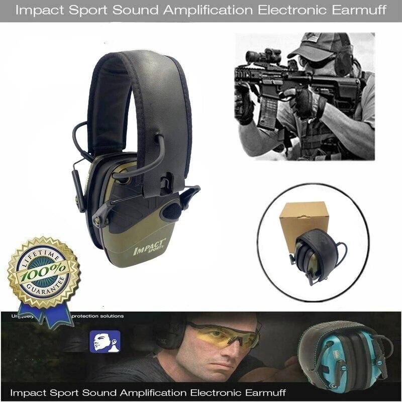 سماعات أذن تكتيكية رياضية خارجية مضادة للضوضاء لتضخيم الصوت وتضخيم السمع سماعة رأس واقية جديدة