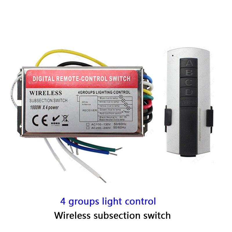 Высоковольтный 110 В 220 В 3 4 5 6-канальный пульт дистанционного управления 1000 Вт/CH светодиодный беспроводной цифровой подсекционный пульт дист...