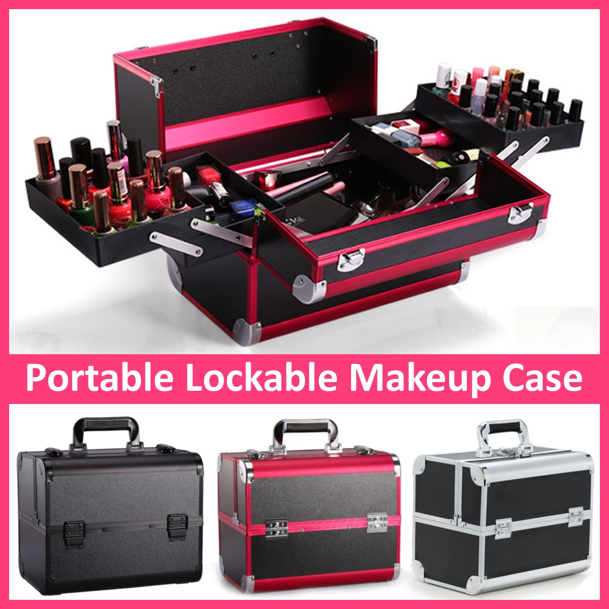 Portable Professional Cosmetic Bag Suitcases For Cosmetics Large Capacity Women Travel Makeup Bags B
