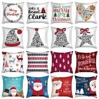 45cm christmas pillowcase santa claus elk snowman xmas cushion cover merry christmas decor for home decorative sofa gifts favor