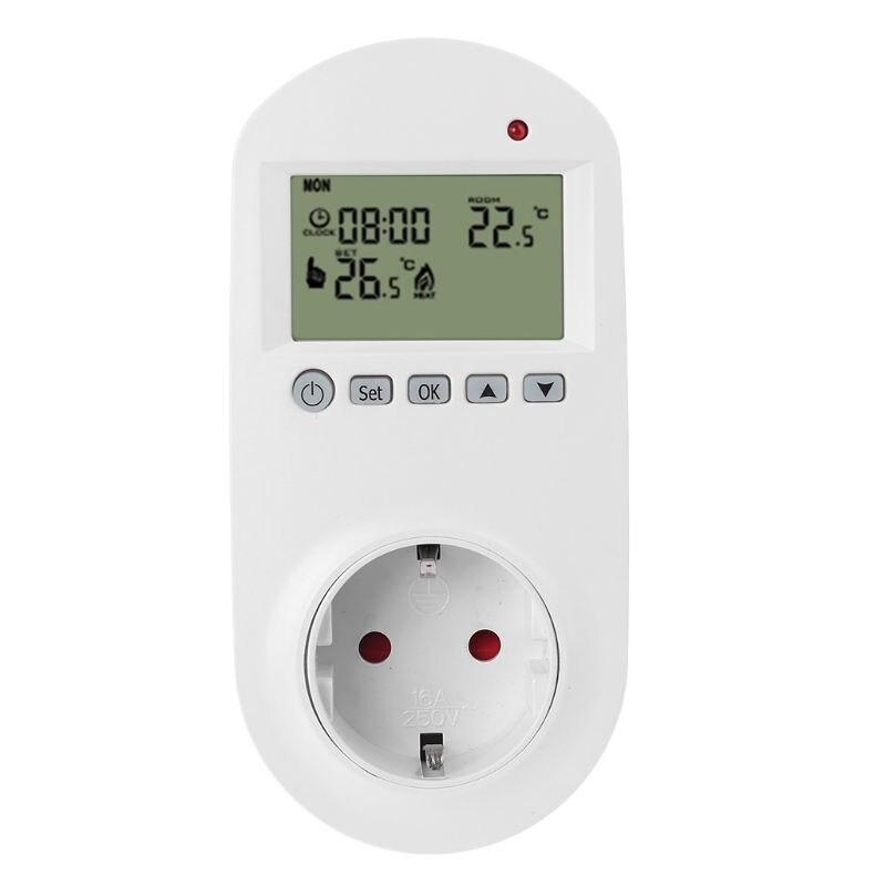 Termostato enchufable programable, enchufe europeo 16A, calefacción eléctrica, controlador de temperatura de habitación y suelo