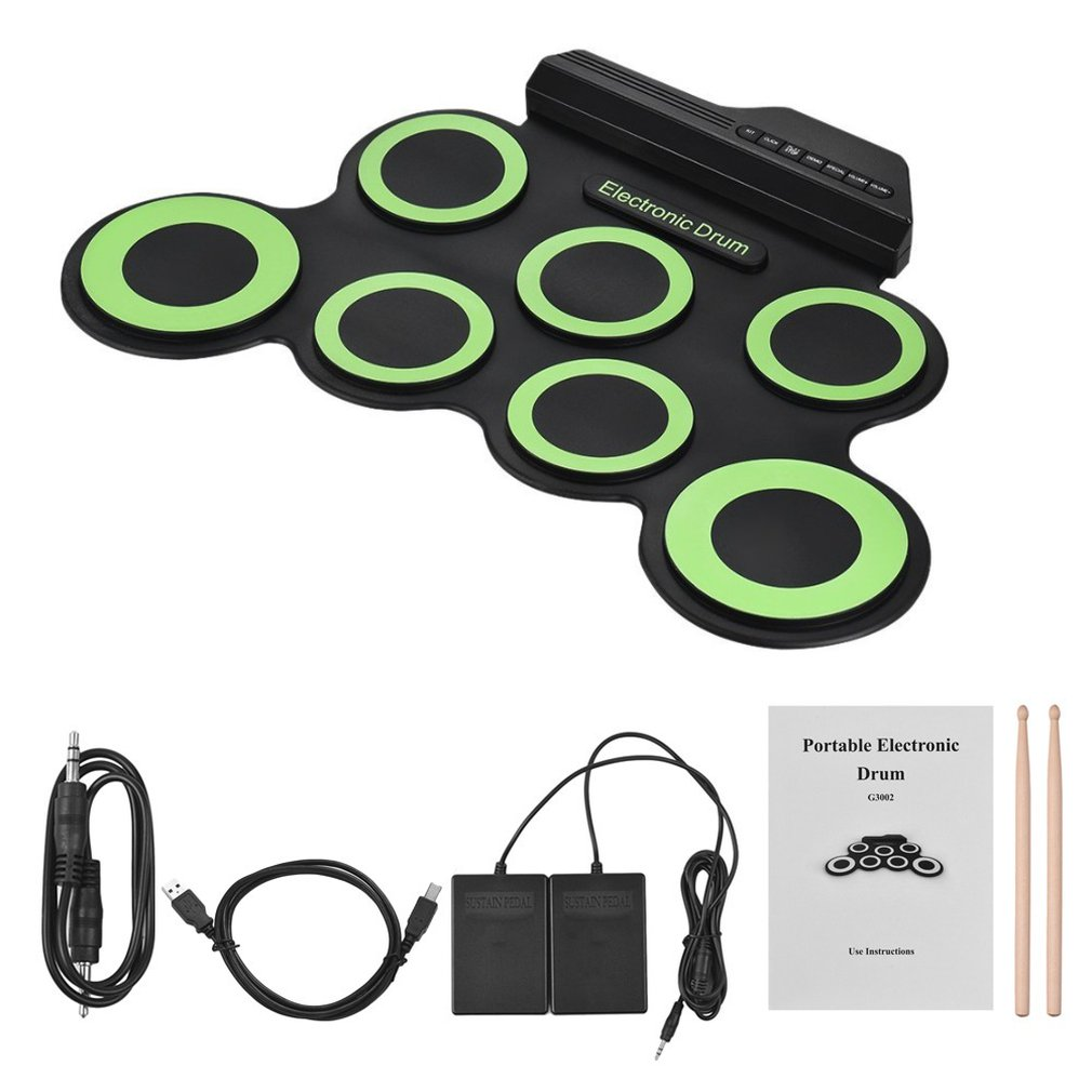 Hand-Rolled Usb Electronic Drum Portable Drum Kitfolding Silicone Practice Drum Roll Up Drum With 9 Silicon Pads enlarge