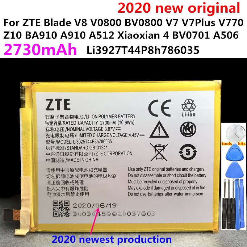 100% Original For ZTE Blade V8 BV0800 V7 Z10 BA910 A910 A512 Xiaoxian 4 BV0701 A506 Li3925T44P8h786035 2540mAh/2730mAh Battery